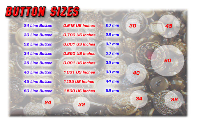 Metal Button Sizes